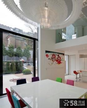 现代别墅餐厅吊顶效果图 客厅阳台装修效果图