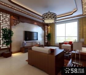 新中式客厅液晶电视墙设计图片