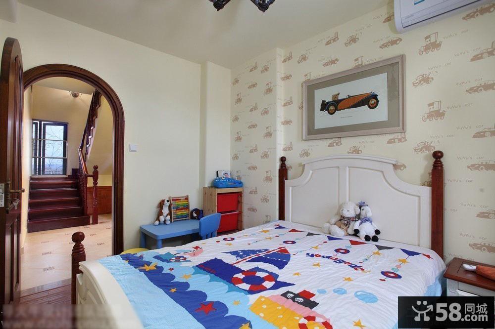 田园风格简单儿童房间家具床图片欣赏