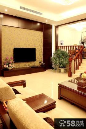 简中式复式楼客厅电视背景墙效果图