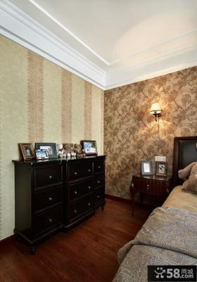 时尚美式风格卧室壁纸装修效果图