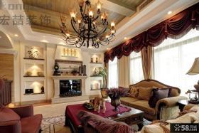 古典欧式别墅装修客厅吊灯图片