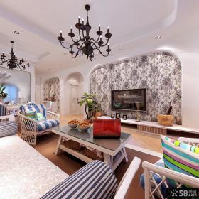 客厅花纹壁纸电视背景墙装修效果图