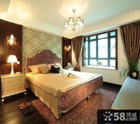新古典二居卧室床头背景墙装修效果图