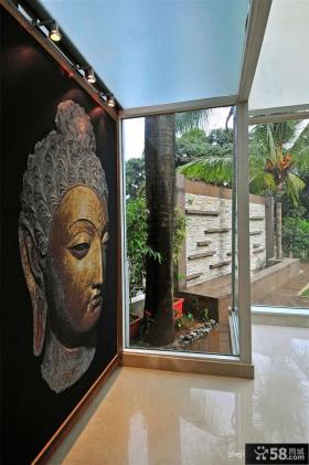 孟买别墅入门玄关壁画设计