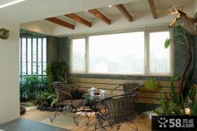 日式现代公寓室内阳台装饰效果图片