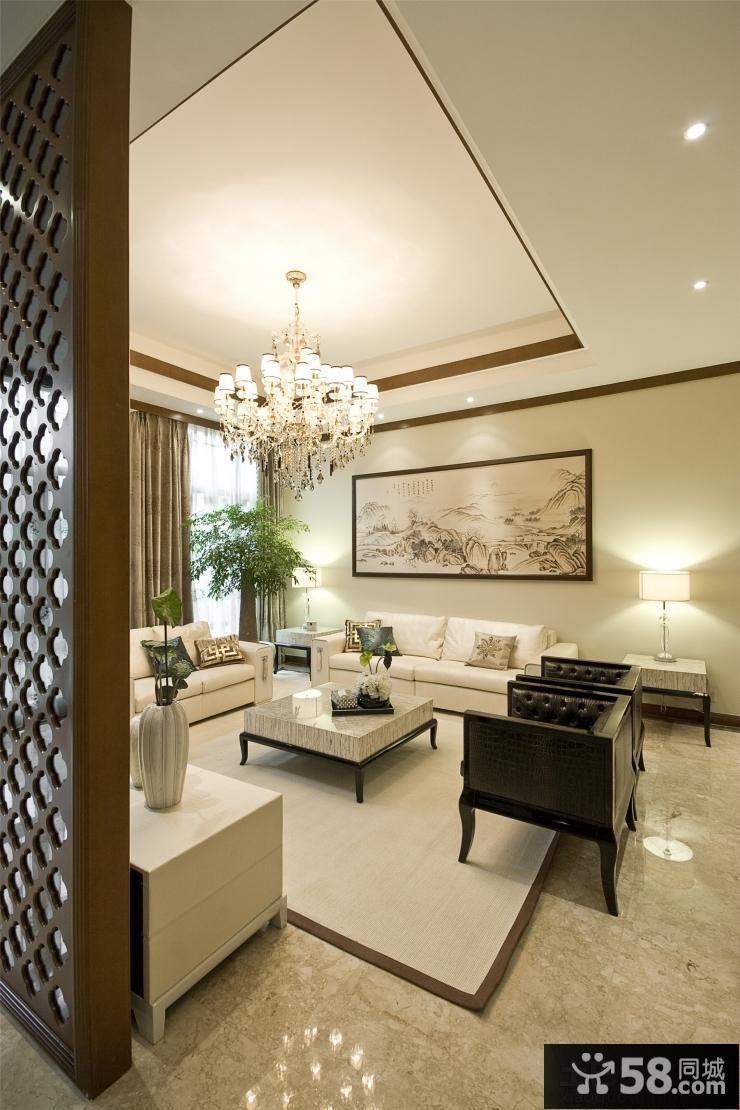 新中式风格复式楼装修客厅吊顶效果图图片
