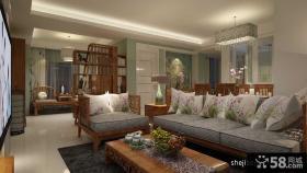 新中式客厅实木沙发图片
