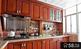 美式厨房实木橱柜装修效果图片