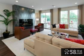 115平米美式现代风格客厅电视背景墙装修效果图大全2012图片