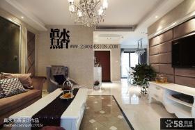 三居室新房简欧式客厅走廊吊顶