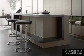 2014现代开放式厨房整体厨柜带吧台图片