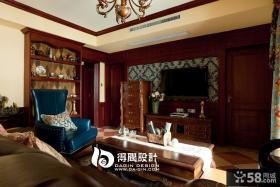 美式客厅壁纸电视背景墙效果图