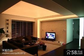 现代简约三居室家装客厅电视背景墙效果图