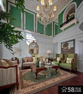田园风格别墅挑高客厅效果图