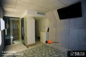 现代简约卧室仿古瓷砖电视背景墙效果图