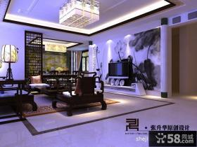 现代中式别墅客厅吊顶设计效果图