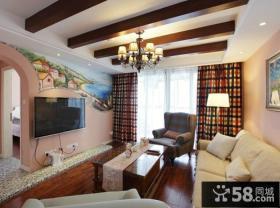 地中海设计装修客厅电视背景墙图片大全