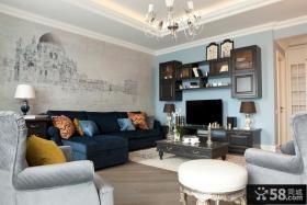 现代简约沙发背景墙画图片