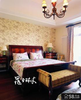美式别墅卧室壁纸装修效果图大全