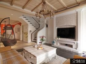 美式风格别墅室内电视背景墙装修效果图