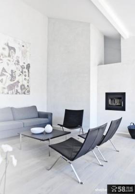 白色极简复式楼客厅装修效果图大全