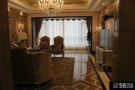 欧式风格三室两厅客厅电视背景墙效果图