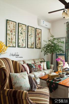 田园风格复式楼客厅沙发挂画墙装修效果图