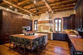 美式乡村风格一体式厨房设计
