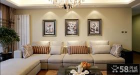 现代简约三居室客厅沙发背景墙装饰画