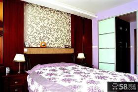 小户型中式风格卧室床头壁纸图片