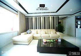 现代简约风格客厅沙发窗帘实景图欣赏