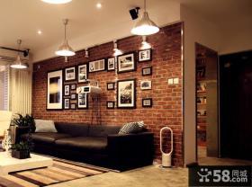 现代沙发背景墙仿古砖装修效果图