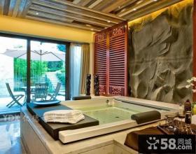 中式风格别墅卫生间浴池装修效果图