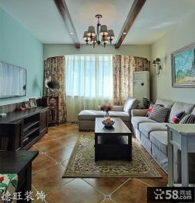 现代美式客厅有梁吊顶装修效果图片