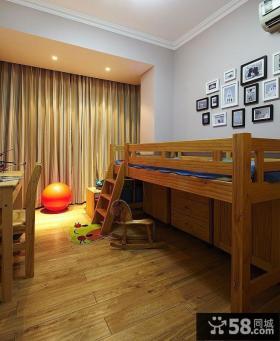 美式儿童房木床图片
