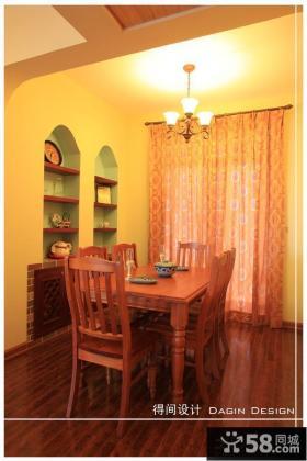 美式风格小餐厅落地窗窗帘效果图欣赏