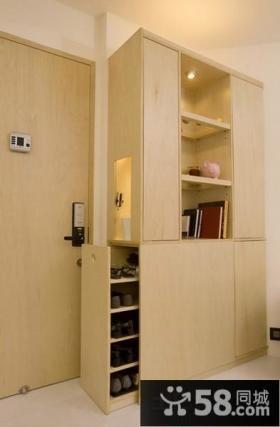 进门玄关实木鞋柜装饰效果图