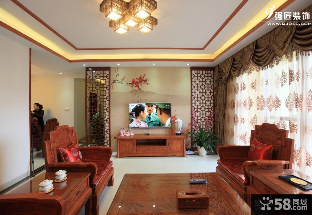 新中式客厅装修效果图背景墙图片