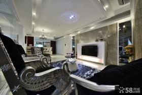 新古典风格客厅电视背景墙效果图