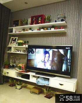 现代简约木纹电视背景墙装饰设计图片