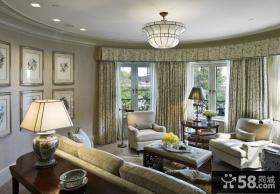 法式风格豪华别墅客厅窗帘效果图