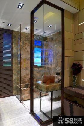 复式楼装修效果图 暗色调卫生间设计