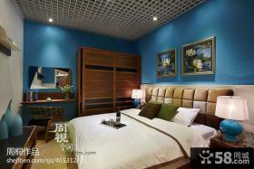 现代风格卧室床头软包皮背景墙设计效果图