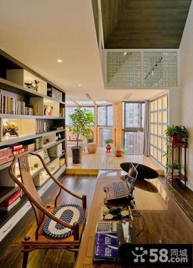 中式书房带阳台装修图片