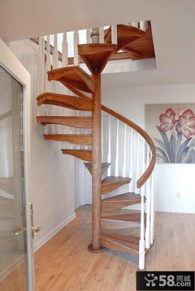 小复式实木楼梯图片