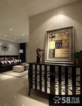 现代家装黑白色玄关鞋柜效果图