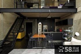 黑色经典的复式楼餐厅装修效果图