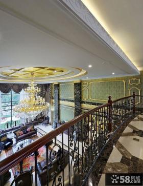 欧式古典别墅客厅吊顶水晶灯图片