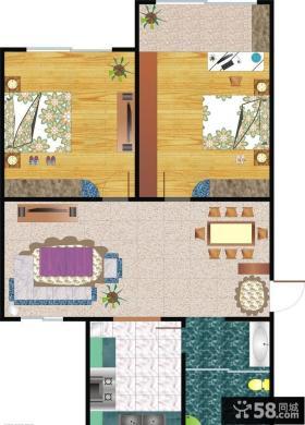 两室一厅室内设计平面图